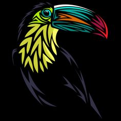 Toucan Tribal T Shirt By Albertocubatas Design By Humans Tribal Pattern Tattoos, Bird Template, Wild Animals Pictures, Tribal Animals, Guitar Painting, Bird Silhouette, Animal Sketches, Stencil Art, Animal Heads