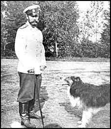 Czar Nicholas I or II with one of his Collies.