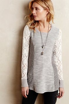 Oh, this top! I just want a closet full of soft, lacy, beautiful things// Graylace Pullover - anthropologie.com