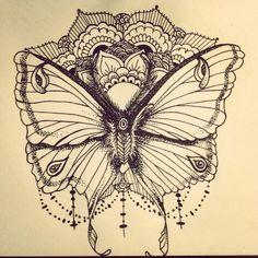 Stipple luna moth and mandala I drew.