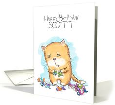 Customizable Name Happy Birthday for Scott-Catnipped Kitty card