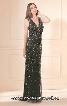 Bodenlanges Schwarzes Abendkleid mit Perlen