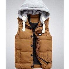 Winter Mens Slim Thicken Coats Puffer Cotton Zip Hooded Warm Vest Down Jackets