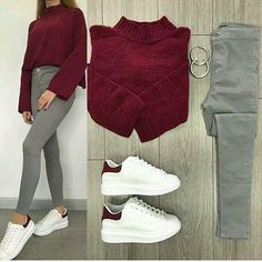 Sneakers outfit swag style new ideas Casual Work Outfits, Mode Outfits, Work Casual, Simple Outfits, Trendy Outfits, Fashion Mode, Teen Fashion, Korean Fashion, Winter Fashion Outfits