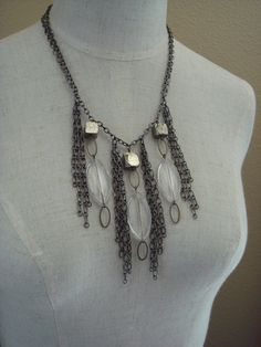 bib style fringe necklace with pyrite cubes and glass drops, edgy and evocative