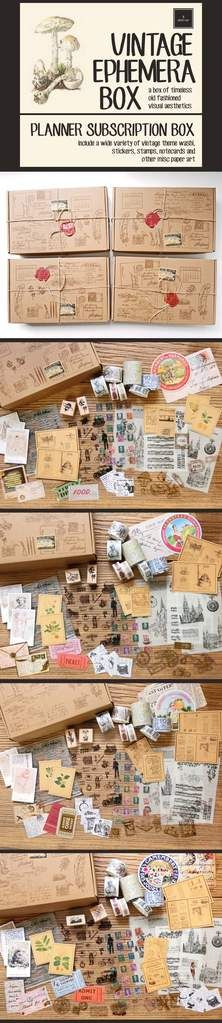 a box of timeless old fashioned visual aesthetics - each box will include a wide variety of vintage theme washi, stickers, stamps, notecards & other paper art