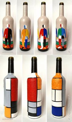 Las botellas decorativas. La pintura akrilom Painted Glass Bottles, Glass Bottle Crafts, Lighted Wine Bottles, Decorated Bottles, Wine Bottle Design, Wine Bottle Art, Diy Bottle, Pottery Painting Designs, Art N Craft