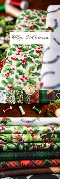 Hay... It's Christmas is a festive collection with a beautiful horse panel by Russel Cobane for Northcott Fabrics! Add these beautiful holiday prints to your next project!