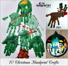 10 different Christmas handprint crafts: Santa, Christmas tree, Rudolph, ornaments, wreath, polar bear, gingerbread house, and snowmen.