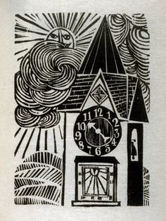 Antonio Frasconi ~ Woodcut on Goyu paper, 125 x 88 mm (4 15/16 x 3 7/16 in.) ~ The Clock and the Dial, illustration for the eighth fable in the book, Known Fables (New York: Spiral Press, 1964)