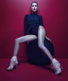 An image from Giuseppe Zanotti's fall-winter 2017 advertising campaign starring Bella Hadid