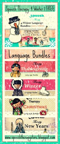 Speech Therapy 4 Winter Language Bundles: Thanksgiving, Winter, Christmas, & New Years