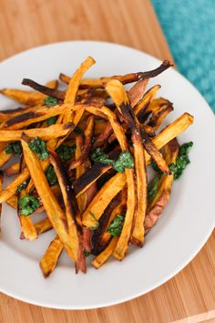 Crispy Baked Sweet Potato Fries with Basil Salt and Lemon Garlic Dipping Sauce