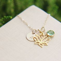 Lotus Necklace, Personalized Lotus necklace, Gold Lotus Necklace, Lotus Jewelry, Birthstone Jewelry, Yoga Necklace, Lotus Flower Necklace