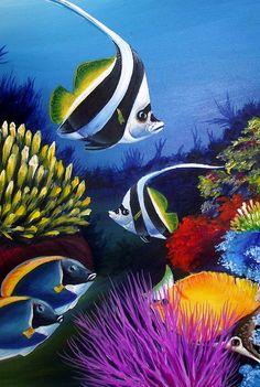 Canvas Print / Canvas Art by Naushad Waheed Sea Life Art, Sea Art, Art And Illustration, Pintura Coral, Coral Painting, Fish Artwork, Beautiful Sea Creatures, Underwater Art, Mermaid Pictures