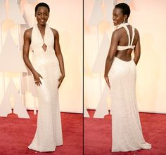 Lupita Nyong'o attended the 2015 Oscars in L.A. on Feb. 22, in a Calvin Klein Collection halter dress made out of pearls; see the stunning style here