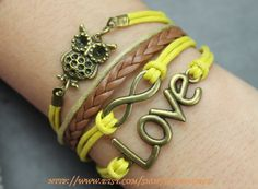 bronze love bracelet infinity karma wish bracelet cute owl brown leather bracelet-