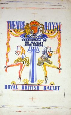 Royal British Ballet 1937 Coronation - original vintage printer's proof poster listed on AntikBar.co.uk