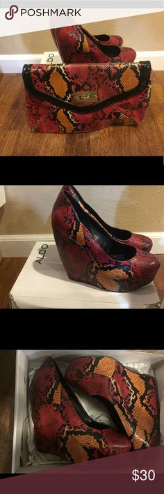Multi color Aldo shoes with matching clutch Multi color Aldo shoes with matching clutch - Shoes are a size 10 Aldo Shoes Wedges