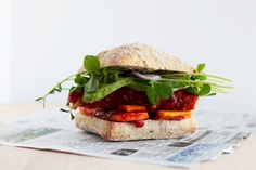 bbq tempeh and sweet potato sandwiches