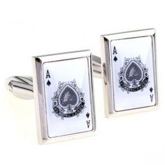 Novelty Gambling Playcard A cufflinks,High quality sterling silver cufflink settings