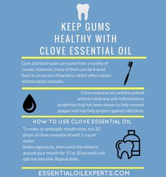 Clove essential oil can be used as a natural remedy for gum pain. Discover more essential oils for oral health at www. , 9 Best Essential Oils for Tooth Pain, Grinding, Cavities, Whitening & Coconut Oil For Teeth, Coconut Oil Pulling, Coconut Oil Uses, Essential Oils For Pain, Clove Essential Oil, Essential Oil Blends, Men's Health Magazine, Tooth Pain, Salud Natural