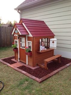 Woodworking For Kids Playhouse idea! Had so much fun doing it!: - Got a call from your kids. They said they want a playhouse in the back yard. I know, you're thinking Backyard Playhouse, Build A Playhouse, Pallet Playhouse, Playhouse Ideas, Outdoor Playhouses, Kids Outside Playhouse, Wooden Outdoor Playhouse, Painted Playhouse, Playhouse Windows