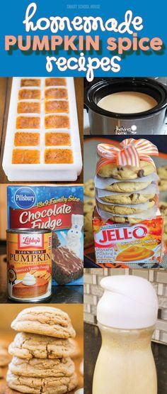 Homemade Pumpkin Spice Recipes - If you love fall recipes as much as I do - try these! Pumpkin Recipes, Fall Recipes, Holiday Recipes, Sweet Recipes, Delicious Desserts, Dessert Recipes, Yummy Food, Fall Desserts, Pumpkin Dessert