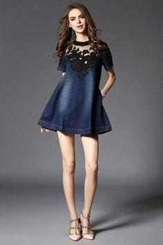 f674d62ea109 Fashion Summer Casual Sexy Dress Denim Jeans Dresses Cotton Messh  Embroidery Patchwork Plus Size Women Clothing