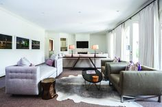 5 (1)tete-a-tete-cow-hide-rug-lavender-gray-tones-drapery-custom-art-luxury-living-room