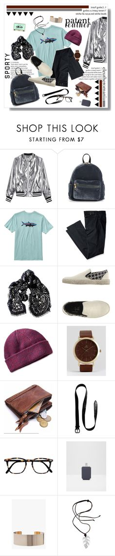 """""""City Slickers: Patent Leather"""" by kryptonitesmile ❤ liked on Polyvore featuring Sans Souci, BP., Patagonia, Levi's, Black, DA.D, L.L.Bean, ASOS, Orciani and Ted Baker"""