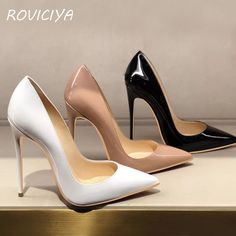 Scarpins Sexy Branco Preto e Bege Platform High Heels, High Heel Pumps, Women's Pumps, Stiletto Heels, Large Size Shoes, Shoe Boots, Shoes Heels, Black Patent Leather Shoes, Clearance Shoes