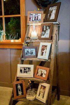 Beautiful idea. Old ladder to hold pictures. Great for a wedding decoration for loved ones who have passed and you would still want to be apart of your special day!!