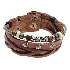 Grânulos de cristal pulseira de couro Rivet – BRL R$ 11,63