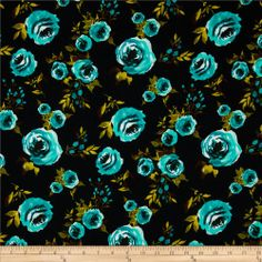 Ponte De Roma Knit Floral Black/Aqua