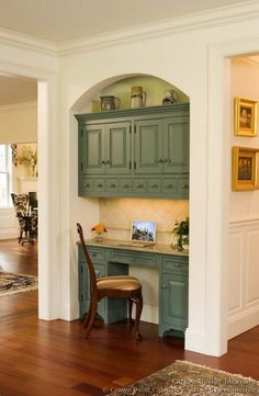 #Kitchen Idea of the Day: A beautiful green kitchen desk tucked into an archway. Victorian kitchens. (By Crown Point Cabinetry)