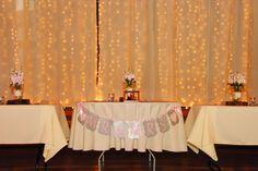 rustic barn wedding, ivory linens, twinkle light backdrop outside salem, or