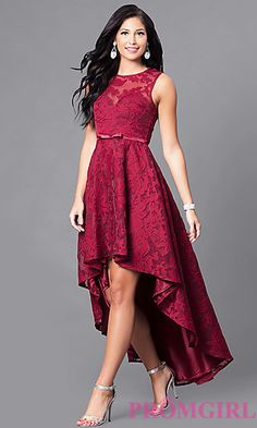 High-Low Lace Sleeveless Semi-Formal Dress at PromGirl.com Csipkeruhák eaaba3450f