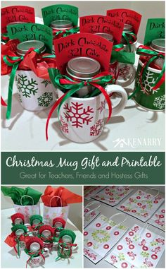 Love this! Give a cake in a mug with this easy low cost Christmas Mug Teacher Gift. Also great for friends, hostesses or holiday party favors.
