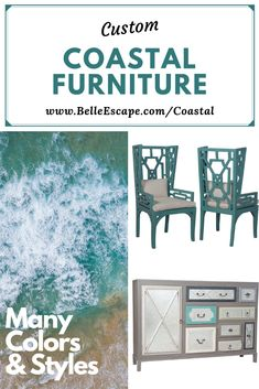 Custom coastal style furniture, including beach style tables, buffets, chairs, beds and more in the coastal color of your choice. Coastal Living Room Furniture, Farmhouse Style Furniture, Furniture Decor, Cottage Style Furniture, Furniture, Beach Furniture, Beach House Furniture, Coastal Cottage Furniture, Coastal Style Furniture