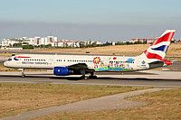 British Airways (Historic fleet) Boeing 757-236 G-CPEM aircraft, painted in ''Blue Peter=a British children's television programme'' special colours Mar. 2005, skating at Portugal Lisbon Portela International Airport. 29/08/2006.