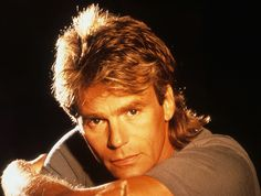 80's action star MacGyver showing off his fab mid length mullet.