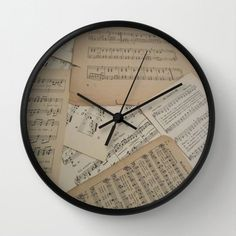 Wood wall clock music piano vintage decoupage