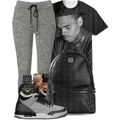 A fashion look from February 2015 featuring t shirts, sweat pants and black backpack. Browse and shop related looks.