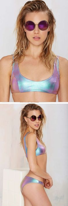 Suit up in Nasty Gal Tupac Hologram Bikini