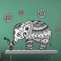 Tribal Elephant Sticker - Moon Wall Stickers
