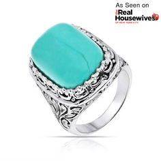 Vintage Bali Filigree Gemstone Turquoise Cocktail Ring 925 Silver ($33) ❤ liked on Polyvore featuring jewelry, rings, bling jewelry deals, blue, gemstone rings, vintage silver rings, silver turquoise ring, vintage turquoise rings and vintage rings