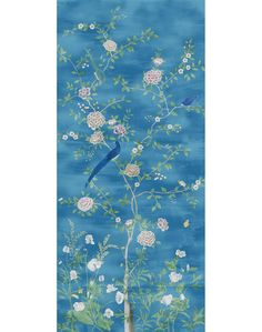 Chinois Blossoms Panel Wallpaper - blue