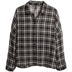 H&M Wide blouse ($11) ❤ liked on Polyvore featuring tops, blouses, shirts, flannels, black, h&m shirts, print long sleeve shirt, pattern blouse, flannel blouse and shirt top