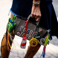 Milan men's fashion week s/s 2016 - Anna Dello Russo with Anya Hindmarch bag